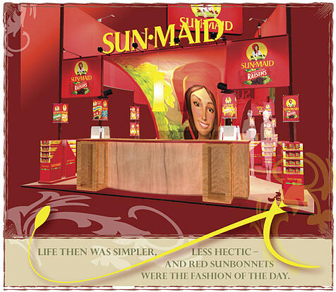 tradeshow booth design: sunmaid girl