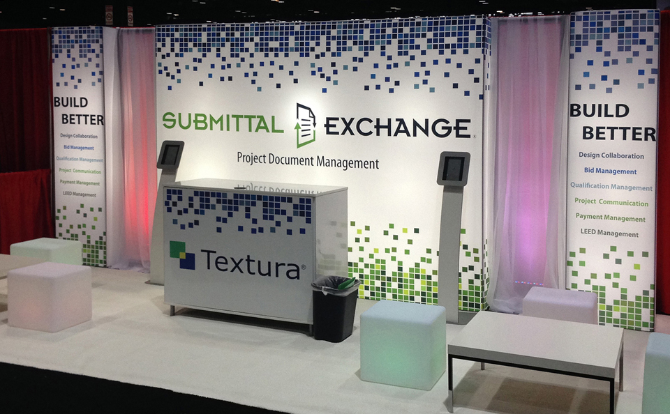 backlit inline trade show booth