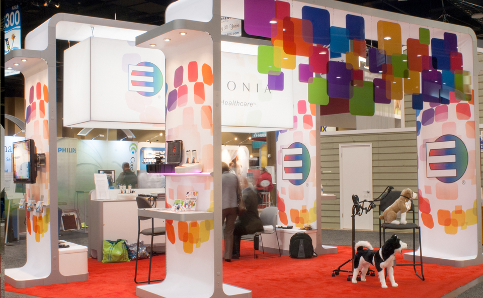 colorful island booth design