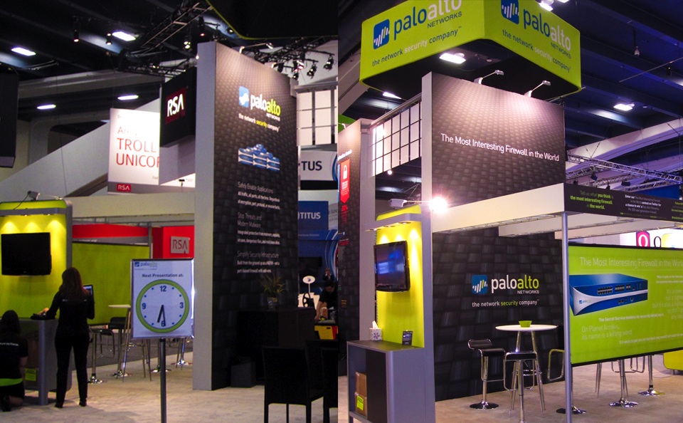 island booth with bigh towers