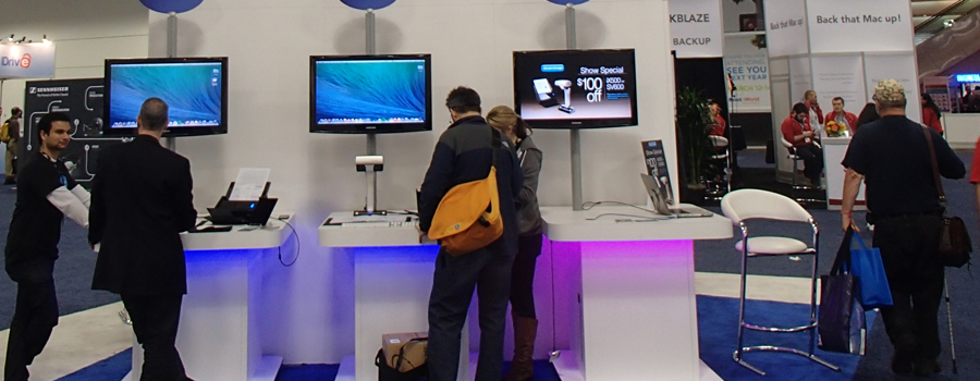 trade show booth design with technology