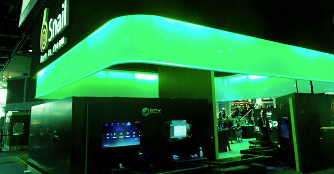 booth design with green glow
