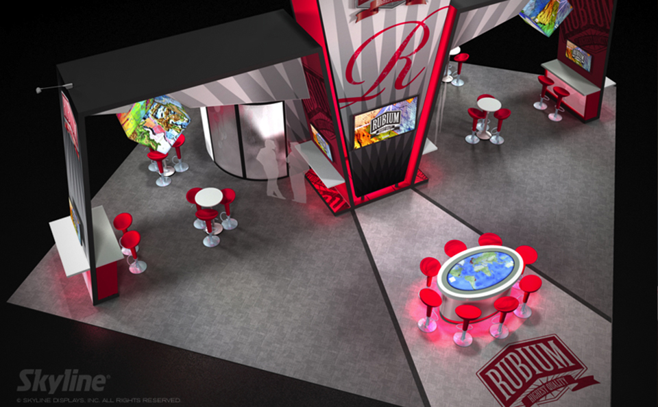 2 side open island booth design