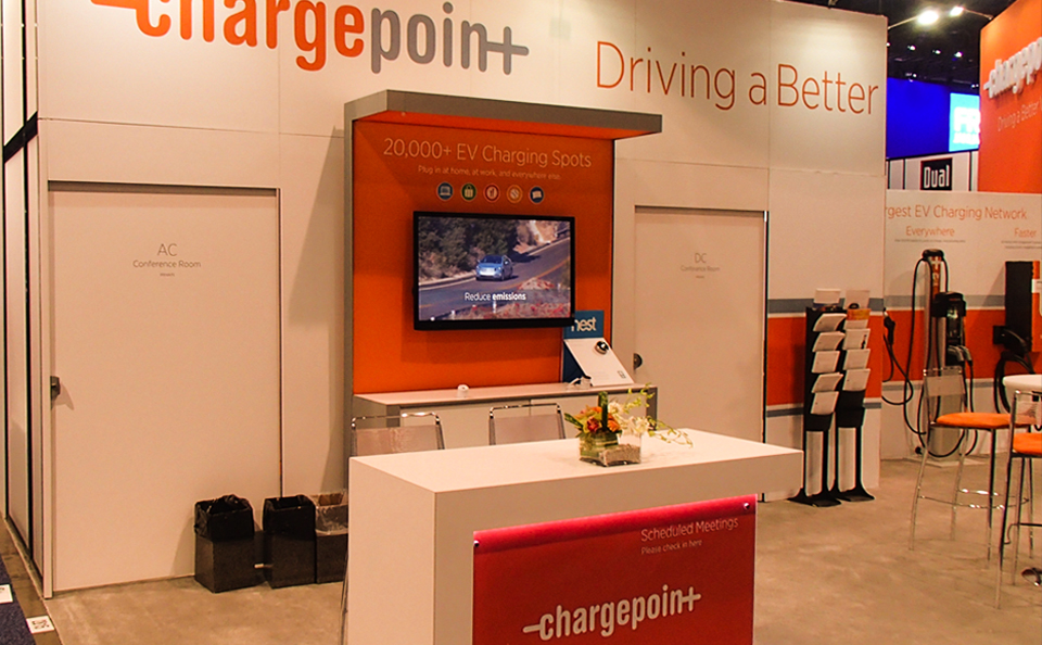 booth design with charge station