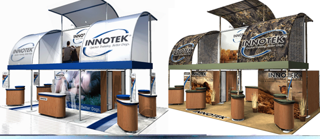 trade show booth design with different graphic