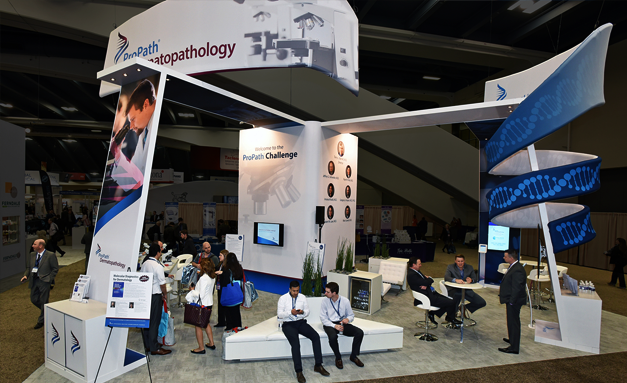 booth design with DNA graphics