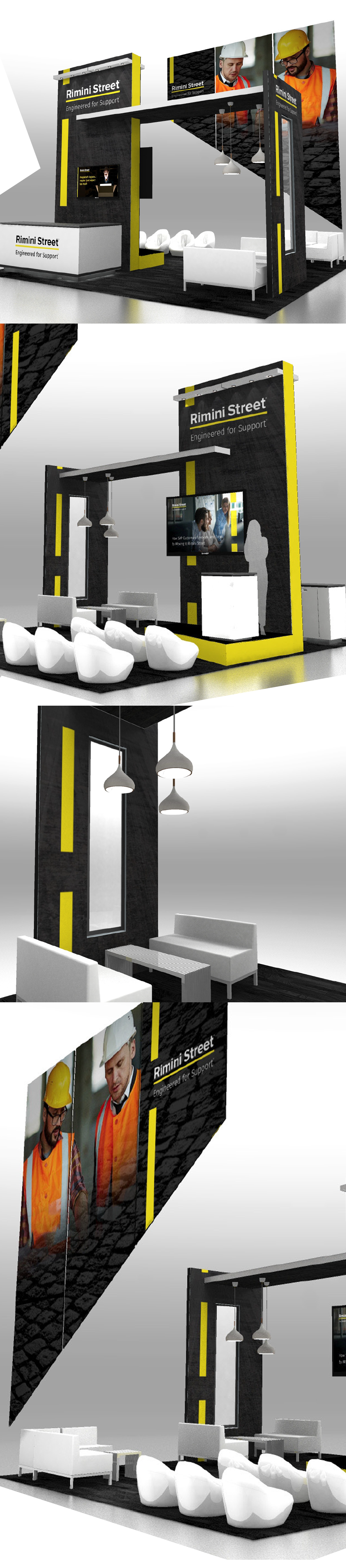 booth design towers with hanging sign-1