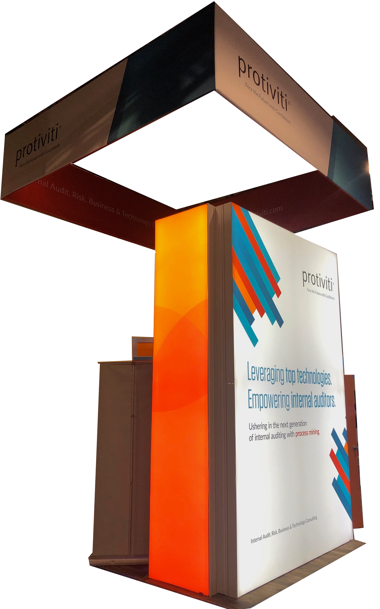 booth design tower with backlit graphics