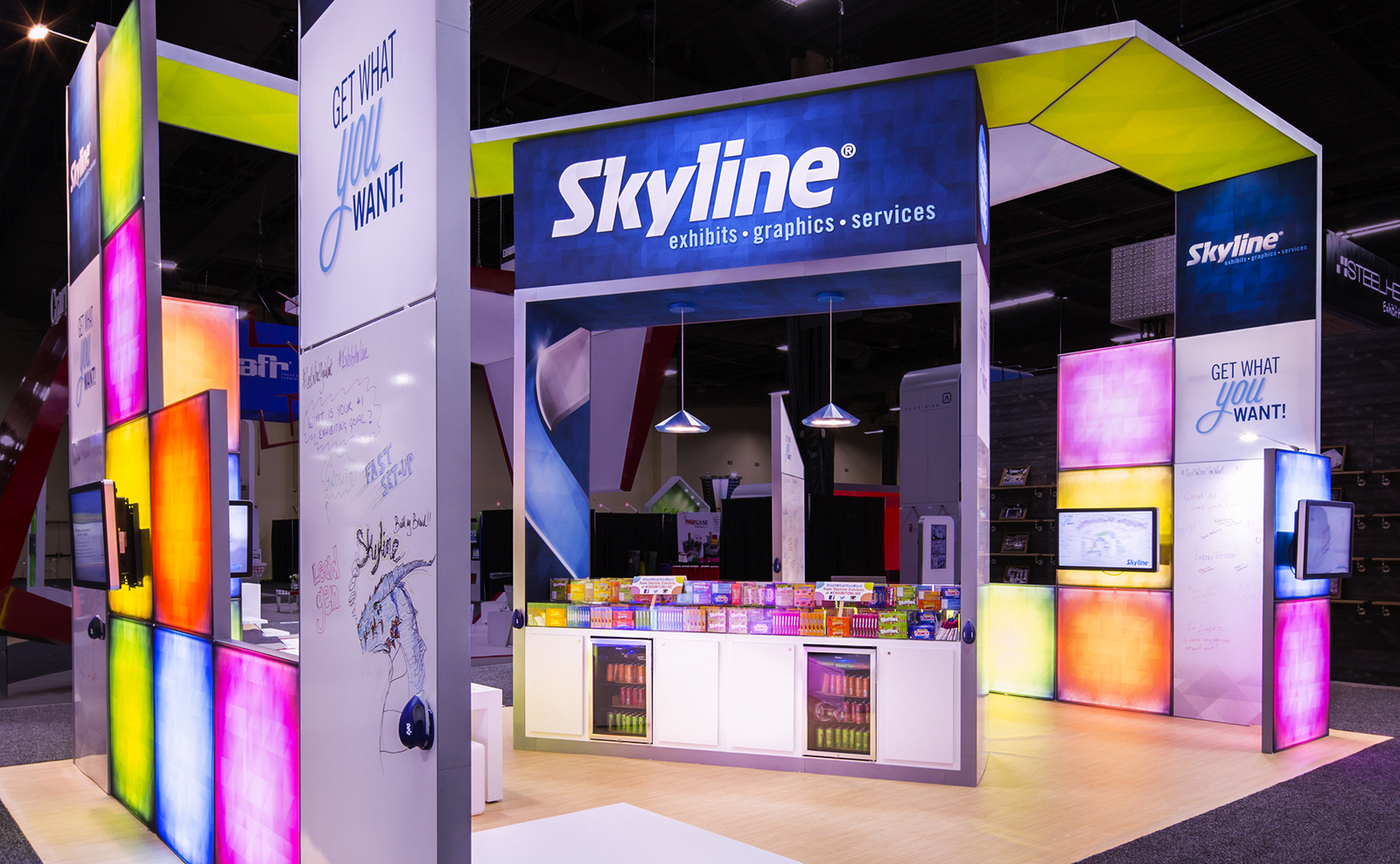 booth design with counters