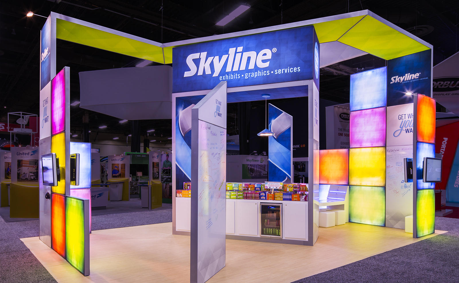 colorful open booth design