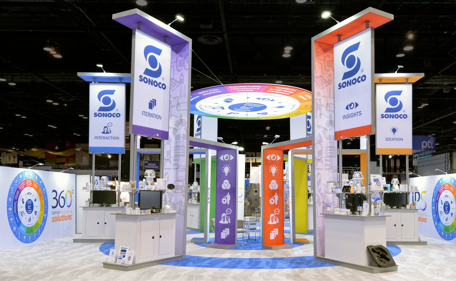 multicolored island booth design