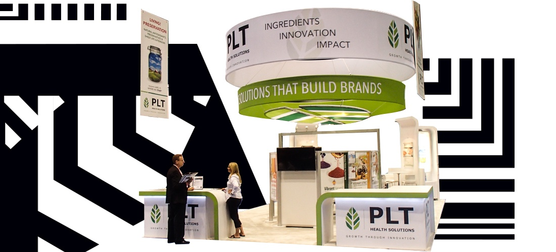 island booth design with big hanging sign